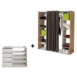 Zestaw garderoba + mebel do przechowywania emeric - biały / dąb i ciemnoszary marki Vente-unique
