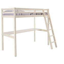 Vente-unique Łóżko antresola gedeon - 90 × 190 cm - z biurkiem - lite drewno sosnowe - bielone