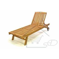 leżak ogrodowy z drewna tekowego z kółkami marki Divero