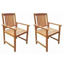 vidaXL Krzesła ogrodowe, 2 szt., lite drewno akacjowe, brązowe, vidaxl_42626
