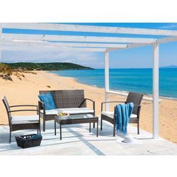 Meble ogrodowe - rattanowe - stół + ławka + 2 krzesła - MARSALA (7081455419152)