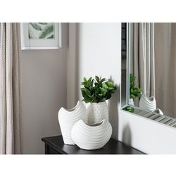 Dekoracyjny wazon na kwiaty biały ECETRA (4260624118895)