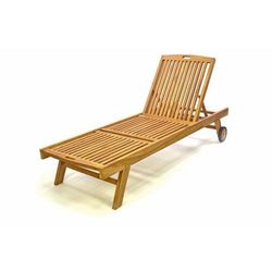 Leżak ogrodowy DIVERO z drewna tekowego z kółkami