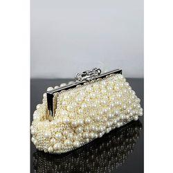 Perełkowa torebka z kokardką i kryształkami, torebka ślubna, ecru z kategorii Galanteria i dodatki ślubne