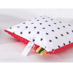 poduszka minky dwustronna 40x40 gwiazdki granatowe na bieli / czerwony marki Mamo-tato