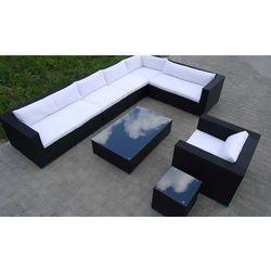 Zestaw mebli ogrodowych czarny technorattan, białe poduszki marki Inspirowane