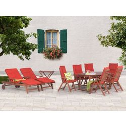 Beliani Stół rozkładany + 6 krzeseł + 2 leżanki + stolik + terracotta poduchy - toscana (7081459767525)