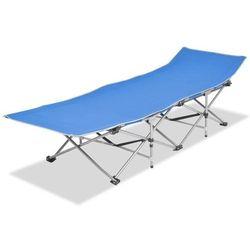 Vidaxl Składany leżak, niebieski, stal, 186 x 67,5 x 49 cm