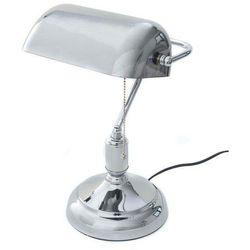 Lumina deco Klasyczna lampa bankierska biurkowa chromowana banker classic