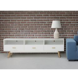 Komoda biała - szafka - półka - regał - stolik rtv - liberty marki Beliani