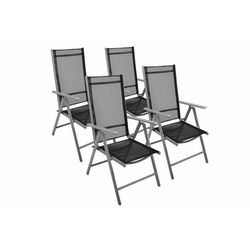 Komplet 4 krzesła aluminiowe Garth rozkładane ogrodowe czarne