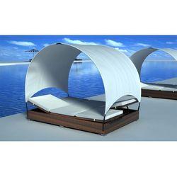 vidaXL Leżanka podwójna z rattanu w kolorze brązowym parasolem z kategorii Leżaki ogrodowe