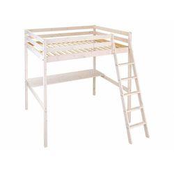 Vente-unique Łóżko antresola gedeon - 140 × 190 cm - z biurkiem - lite drewno sosnowe - bielone
