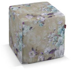 Dekoria  pufa kostka twarda, fioletowe i turkusowo-zielone kwiaty na beżowym tle, 40x40x40 cm, monet