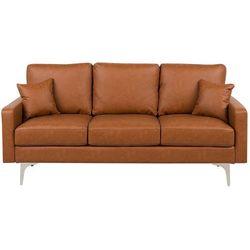 Sofa trzyosobowa skóra ekologiczna złoty brąz GAVLE