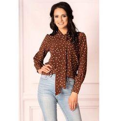 Brązowa bluzka w groszki z wiązaną szarfą marki Merribel