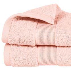 Atmosphera Miękki ręcznik łazienkowy z bawełny naturalnej 100%, elegancki różowy ręcznik z bordiurą ozdobioną (3560238359693)