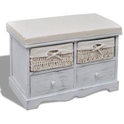 Vidaxl ławka drewniana z 4 szufladami oraz poduszką (biała) (8718475862345)