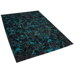 Beliani Dywan skórzany czarny/turkusowy 140 x 200 cm atalan (4260602379942)