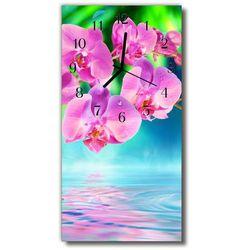 Zegar Szklany Pionowy Kwiaty Storczyki kolorowy, kolor wielokolorowy