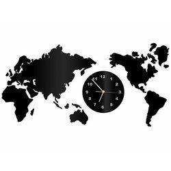 Zegar z pleksi na ścianę mapa świata ze złotymi wskazówkami marki Congee.pl