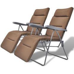 vidaXL Składane krzesła ogrodowe z poduszkami, 2 szt., brązowe (8718475965220)