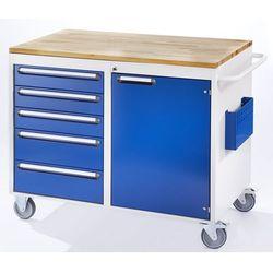 Stół warsztatowy, ruchomy, 5 szuflad, 1 drzwi, blat roboczy z drewna, jasnoszary