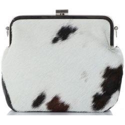 Modne i Eleganckie Torebki Skórzane Listonoszki firmy Vittoria Gotti wykonane z naturalnego włosia Biało Czarne (krówka) (kolory), kolor czarny