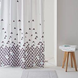 Zasłona prysznicowa FLY, wzór w trójkąty.