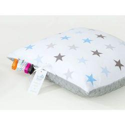 Mamo-tato poduszka minky dwustronna 40x40 gwiazdki szare i niebieskie d / jasny szary