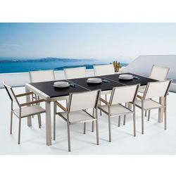 Meble ogrodowe - stół granitowy 220 cm czarny polerowany z 8 białymi krzesłami - GROSSETO (7081459833862)