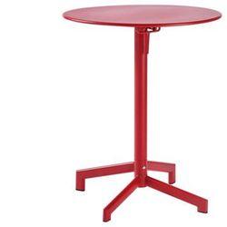 Vente-unique Mały, składany stolik ogrodowy luxembourg z metalu – śr. 60 cm – kolor czerwony