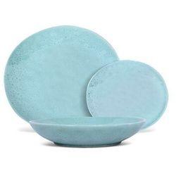 Serwis obiadowy SIA z młotkowanego fajansu OLGA - 12-częściowy - Kolor jasnoniebieski, kolor niebieski