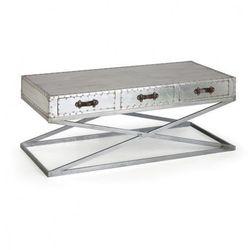 Stolik z szufladami Metal, niski