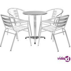 Vidaxl meble bistro z okrągłym stolikiem, 5 szt., srebrne, aluminium