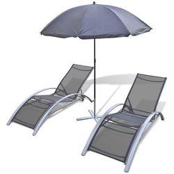 3 - częściowy zestaw leżaków z parasolem, aluminium od producenta Vidaxl