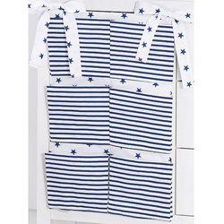 przybornik organizer na łóżeczko gwiazdki granatowe na bieli / pasy granatowe marki Mamo-tato