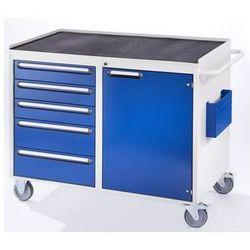 Stół warsztatowy, ruchomy,5 szuflad, 1 drzwi, półka metalowa z matą gumową marki Rau