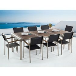 Meble ogrodowe ze stali nierdzewnej - stół 220cm blat drewniany 3cz. - 8 x krzesła z siedziskiem z włókna tekstylnego - GROSSETO (7081455034065)