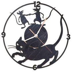 Drewniany zegar na ścianę kot i myszy ze złotymi wskazówkami marki Congee.pl