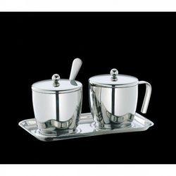 cukiernica z łyżeczką i mlecznik, na tacy, stal (4017166203004)