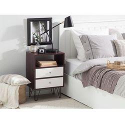 Szafka nocna z dwiema szufladami ciemne drewno z białym ARVIN