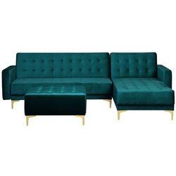 Sofa rozkładana welur lazurowa lewostronna z otomaną ABERDEEN, kolor niebieski