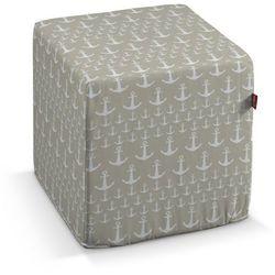 pokrowiec na pufę kostke, kotwice beżowo-białe, kostka 40x40x40 cm, marina marki Dekoria