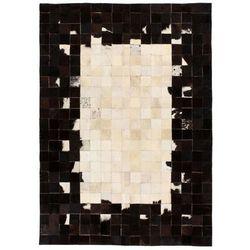 Dywan ze skóry, patchwork w kwadraty, 120x170 cm, czarno-biały marki Vidaxl