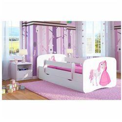 Łóżko dla dziewczynki z materacem Happy 2X mix 70x140 - białe, Kocot-łóżko-babydreams-białe-księżniczka-z-koniem