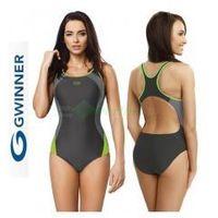 ALINKA strój kąpielowy pływacki grafit/zielony gWINNER + Czepek NOWOŚĆ | WYSYŁKA 24h, kolor zielony
