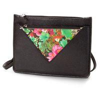 Mała torebka na ramię z kieszenią z kwiatowym nadrukiem  czarno-kolorowy marki Bonprix
