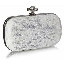 Lejdi Koronkowa biała torebka z węzełkiem | białe torebki, torebka ślubna, kategoria: galanteria i dodatki ślubne