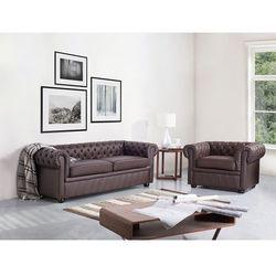 Sofa kanapa skórzana brązowa klasyka dom biuro chesterfield marki Beliani